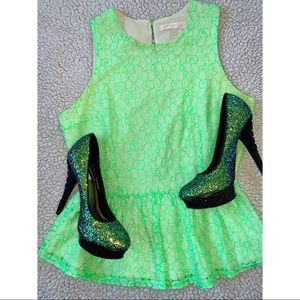 MM Couture | Green Lace Halter Peplum Top
